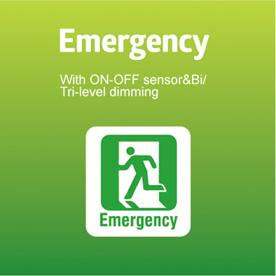 Emergency with ON-OFF sensor & Bi/Tri-level dimming Function
