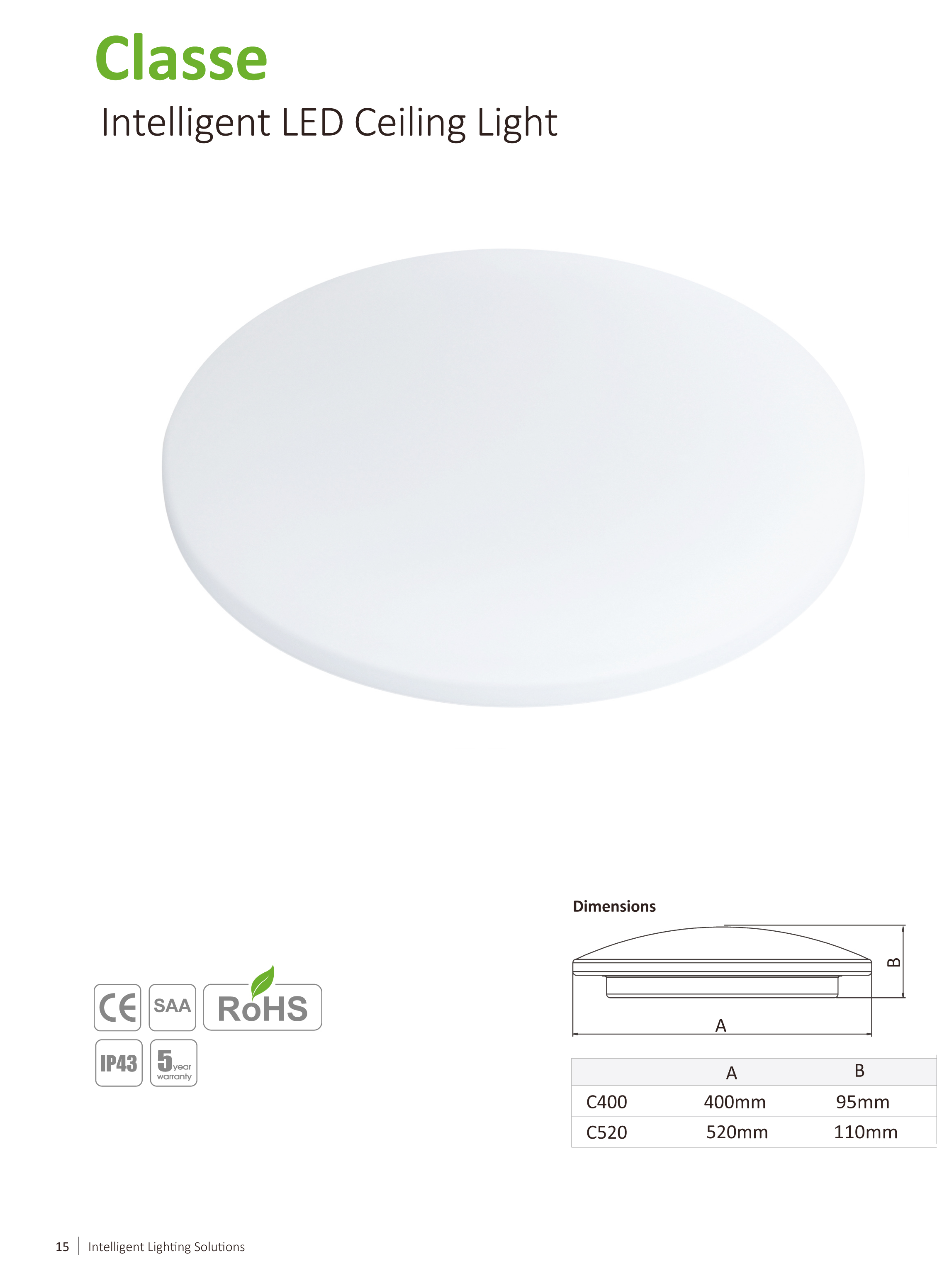 Ceiling LED light Classe C400 20W Glass Diffuser-dynaluxx